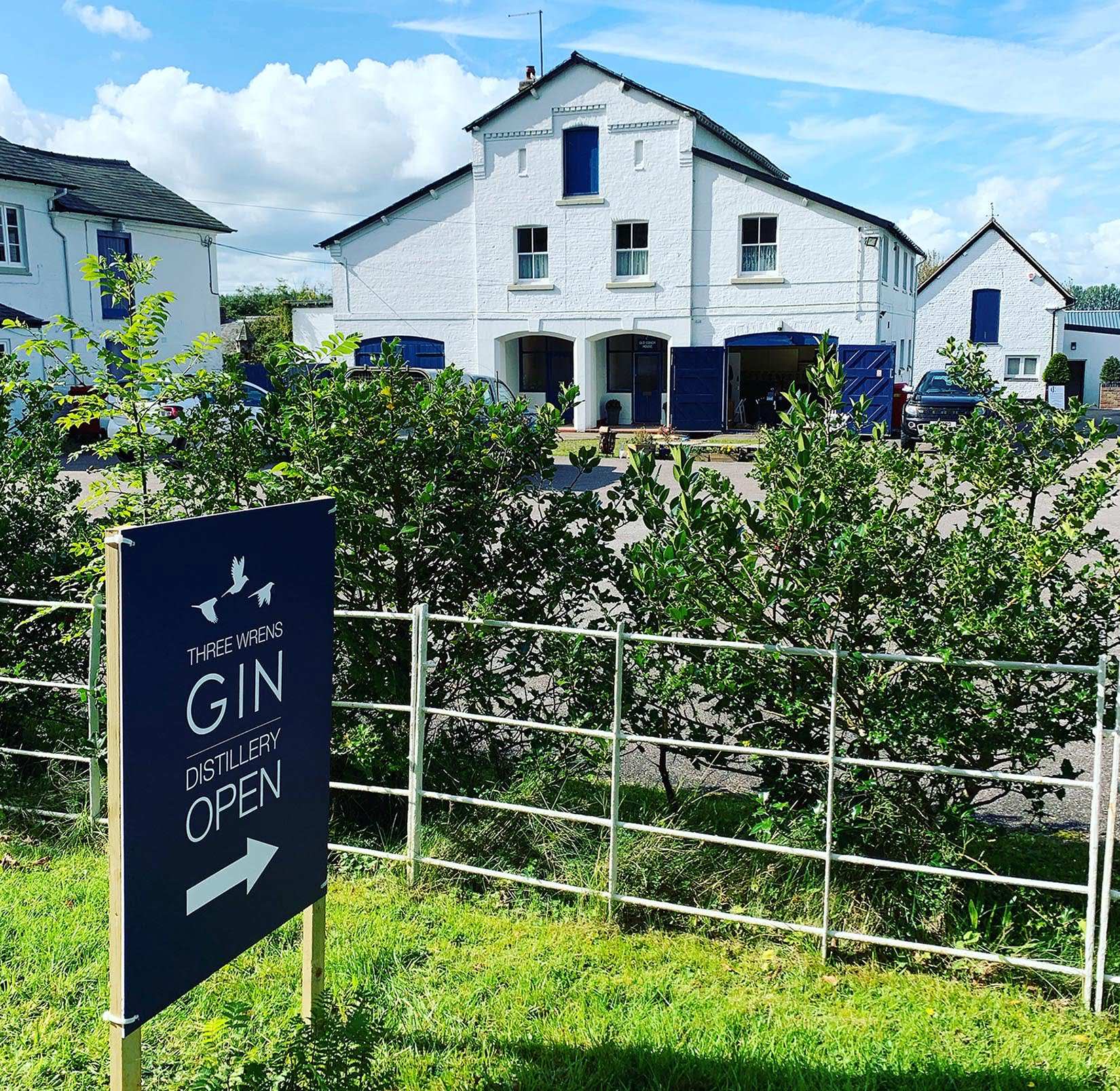 three wrens gin distillery view from road