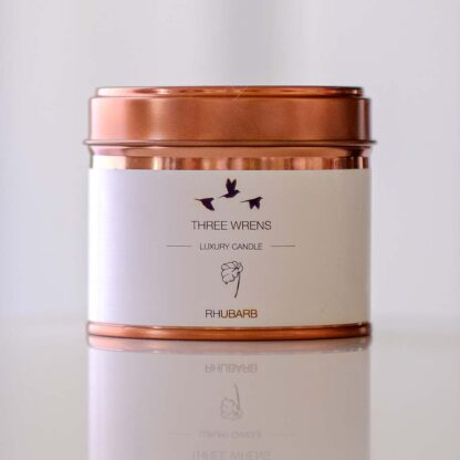 candle copper tin rhubarb flavour