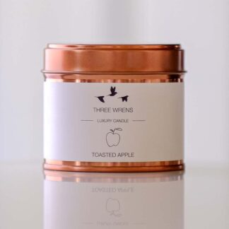 candle copper tin toasted apple flavour