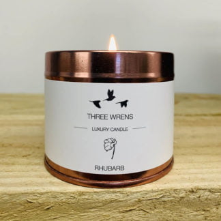 luxury scented candle rhubarb three wrens
