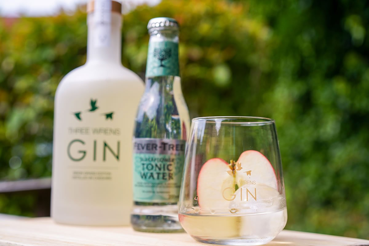 gin glass sliced apple tonic water bison grass
