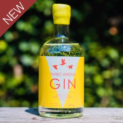 three wrens gin key lime pie edition bottle yellow white label