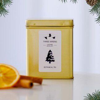 festive botanical gold tin